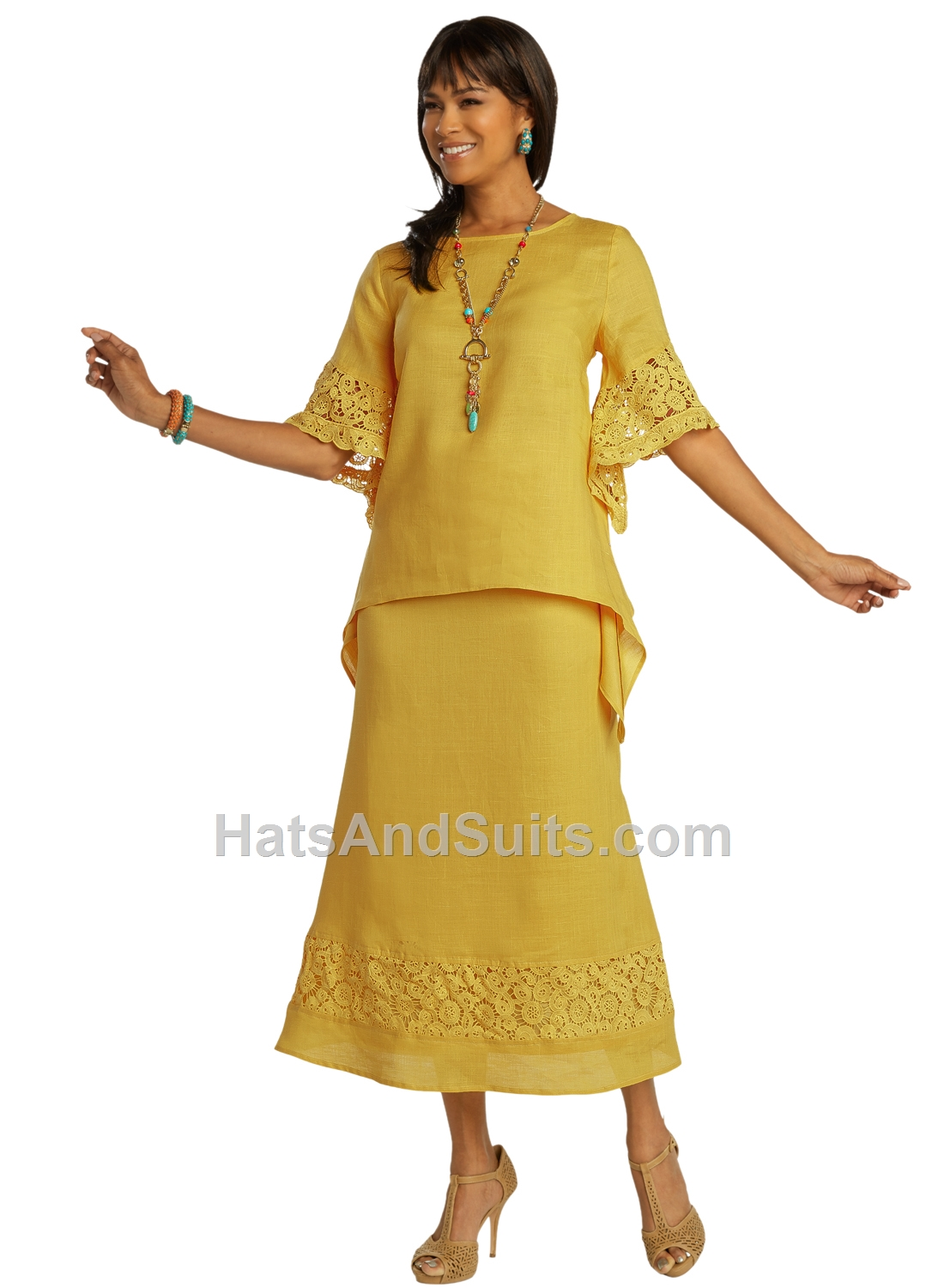 3342-mustard LISA RENE' 2 Pc. Tunic & Skirt Set. SP20