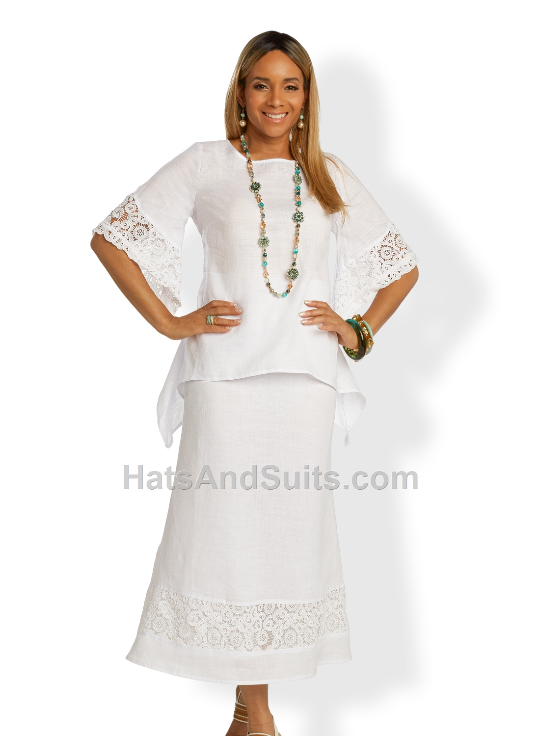 3342-white LISA RENE' 2 Pc. Tunic & Skirt Set. SP20