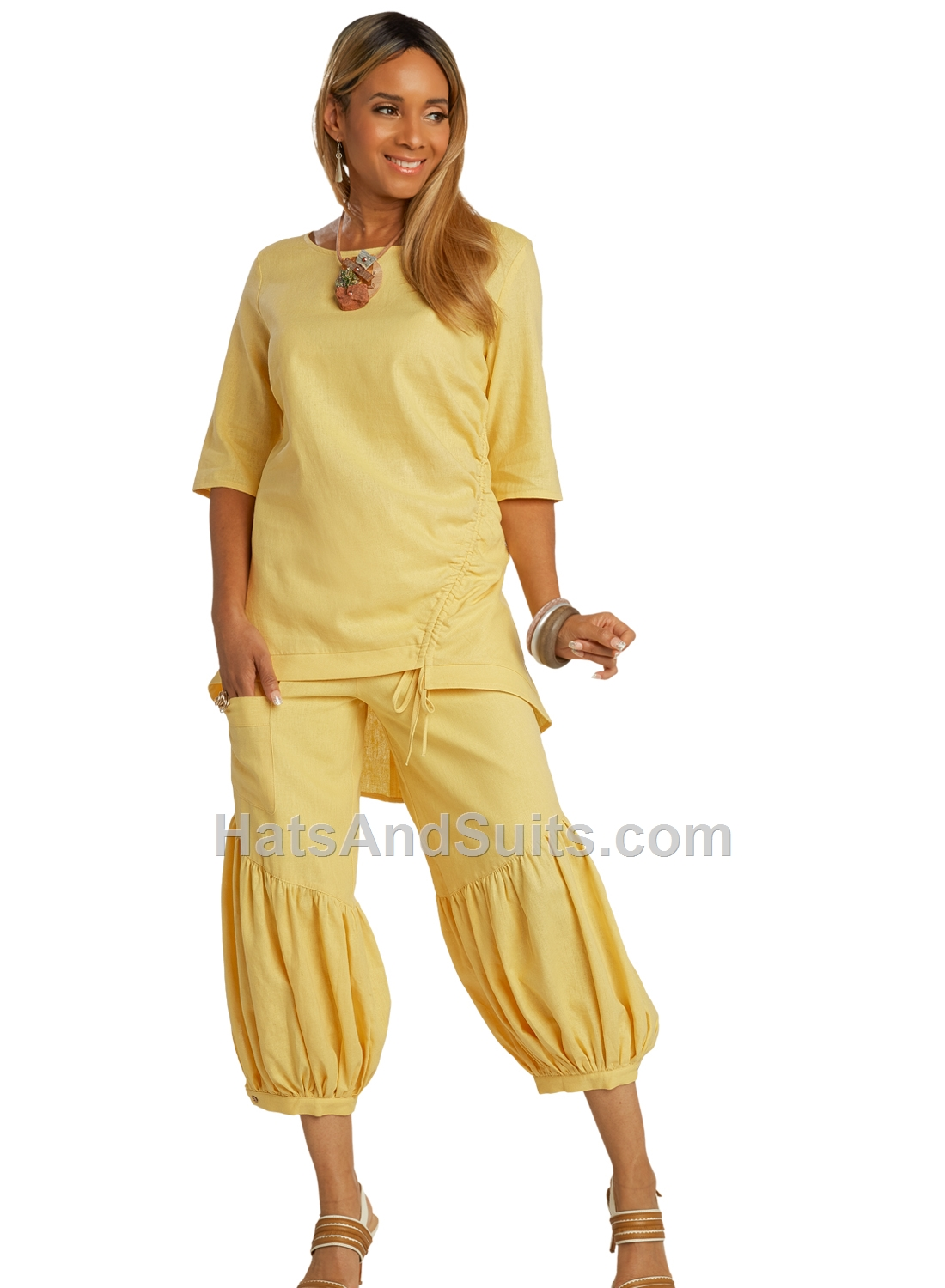 3364-yellow LISA RENE' 2 Pc. Tunic & Pant Set. SP20
